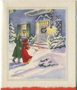 Vintage Christmas Eve Blue House Snow Victorian Couple White Door Greeting Card