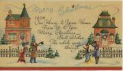 Vintage Christmas Victorian House Painted Lady Victorian Girl Greeting Art Card