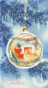 Vintage Christmas Blue Evergreen Pine Tree Ornament Parlor Reflections Art Card