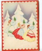 Vintage 1940and039s Christmas Modernism Abstract Swiss Girls White Snow Greeting Card