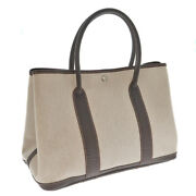 Hermes Garden Party Pm Tote Bag Canvas Leather Toile Ash Negonda Natural Brown