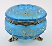 Moser - Footed Dresser Jewelry Powder Box - Frosted Blue Glass Enamel Flowers