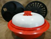 Range Mate Round Microwave Grill Pan With Steamer And Muffin Mint Condition Red
