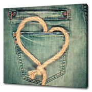 Love Heart Shape Rope On Jeans Packet Vintage Canvas Print Wall Art Picture
