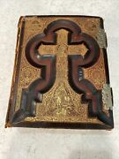 Antique Bible Douay And Rheims Haydock Family 1800s Illustrated Gold Leather Clasp