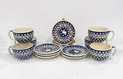 6 Polish Pottery 2 Pc Cup Saucer Sets Pine Cone Nature Design Dots