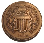 Old Us Coins 1864 Civil War Obsolete Two Cent Piece 2 C