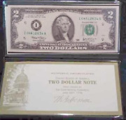2003 Us 2 Dollar Bill, Uncirc., Federal Reserve Note, Money Gift For Collection