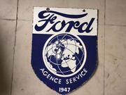 Porcelain 1947 Ford Agence Service Sign Size 24 X 18 Inches 2 Sided