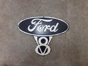 Ford V8 Parts Die Cut Porcelain Enamel Sign 12 X 9.5 Inches Lot Of 3