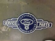 Porcelain Ford Service Parts Enamel Sign 40 X 19 Inches Double Sided
