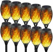 10pack Solar Lights Outdoor Solar Torches With Flickering Flame For Christmas