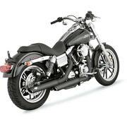 Harley Vance And Hines Exhaust 3 Round Twin Slash Slip-on 91-17 Fx Dyna Black