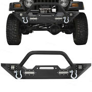 Front Bumper W/ D-rings + Led Lights Winch Plate Fit Jeep Wrangler 87-06 Tj Yj
