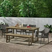 Ellendale Outdoor Acacia Wood And Wicker 6 Piece Dining Set With Bench