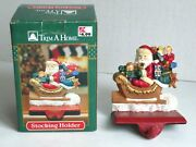 Vintage Trim A Home Cast Iron Stocking Holder Santa In A Sleigh Full Of Toys