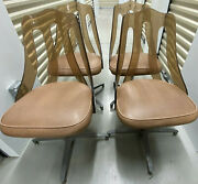 1970s Dinette Dining Set 4 Acrylic Lucite Back Chairs And Table Eames Style Bases