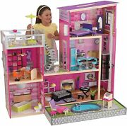 Uptown Wooden Modern Dollhouse With Lights Sounds Pool And 36 Accessories Gift