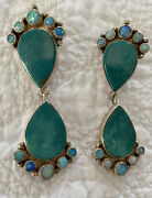 Vibrant Vintage Navajo D. M. Lee Sterling Silver Turquoise And Fire Opal Earrings