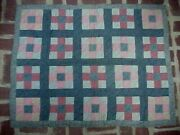 Antique Nine Patch And Bars Crib Baby Quilt Hand Pieced Hand Quilted C.1900