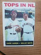 1964 Topps Baseball 423 Hank Aaron And Willie Mays -tops In Nl - Near Mint