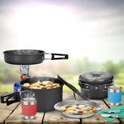 Portable Lightweight Camping Cookware Bbq Folding Mess Kit Pan Forks Spoons