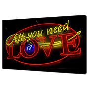 All You Need Is Love Neon Light Sign Modern Canvas Print Wall Art Picture