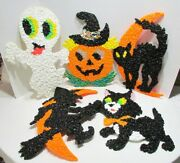 Halloween 7 Vintage Melted Plastic Popcorn Decorations Ghost Witch Jol Cat Kage