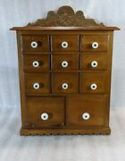 Antique 11-drawer Spice Box Cabinet, Porcelain Knobs, Beautiful Wood And Details