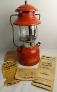 Vintage 7-1955 Model 200a Red Coleman Single Mantle Lantern With Manuals