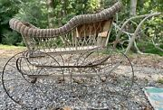 Antique Incredible Victorian Wicker Baby Carriage