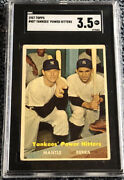 Sgc 3.5 Vg+ 1957 Topps Mantle And Berra Yankees Power Hitters Card 407