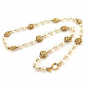 Necklace Gold Plated White Costume Pearl Beaded Long Vintage Authentic