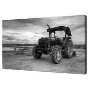Vintage Tractor Black White Home Decor Canvas Print Wall Art Picture