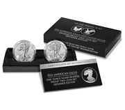 American Eagle 2021 One Ounce Silver Reverse Proof Two-coin Set In Hand Fastship