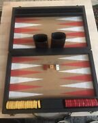 Vintage Backgammon Game Red And Butterscotch Bakelite Catalin Discs