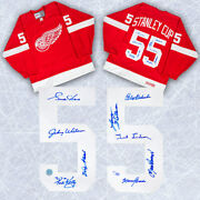1955 Detroit Red Wings 9 Player Team Signed Stanley Cup Vintage Ccm Jersey /55