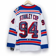 1994 New York Rangers 15 Player Team Signed Stanley Cup Jersey 1/94