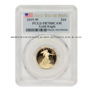 2019-w 10 Gold American Eagle Pcgs Pr70dcam First Day Of Issue Deep Cameo 1/4oz