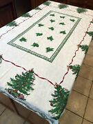 Spode Christmas Tree White Table Cloth And 12 Pieces Cloth Napkins Holiday Décor