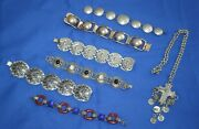 Vintage Silver Tone Jewelry Lot With Two Bracelets From Mexico Some Sterling