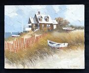 Albert Swayhoover Original Oil Painting Of A Beach House 1976 Sailboats