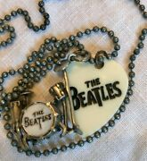 Lucky Brand Beatles Silver Drums, Guitar Pick Necklace - Dove Gray Ball Chain
