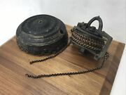 Antique Vtg Hanging Oil Lamp Pull Down Motor Chain Brass Canopy Parts - Working