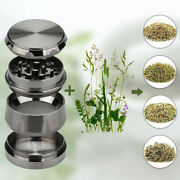 Herb Grinder Crusher For Tobacco 4 Piece Metal Hand Muller Spice Silver 4pc New