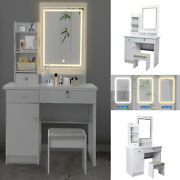 Makeup Vanity Dressing Table Set Lighted Mirror Dresser Desk W/ Drawers And Stool