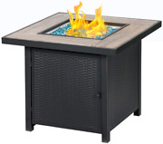Bali Outdoors Propane Gas Fire Pit Table, 30 Inch 50,000 Btu Square Gas Firepits