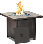 Bali Outdoors Propane Gas Fire Pit Table, 32 Inch 50,000 Btu Square Gas Firepits