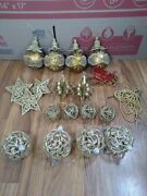 Vintage Christmas Ornaments Silver Gold Frosted Stars Ribbon Glitter Balls