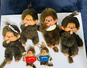 Vintage Monchhichi Japan Doll Lot 4 And 2 Keychain One With Tags